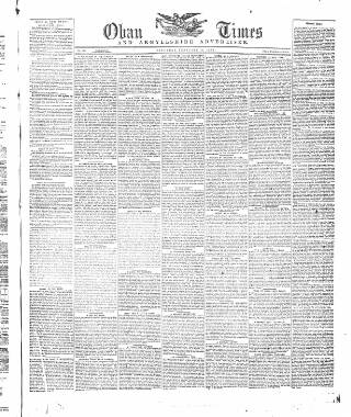 cover page of Oban Times, and Argyllshire Advertiser published on February 15, 1873