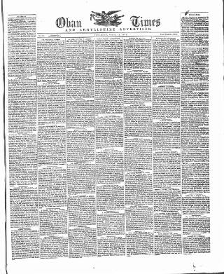 cover page of Oban Times, and Argyllshire Advertiser published on April 19, 1873