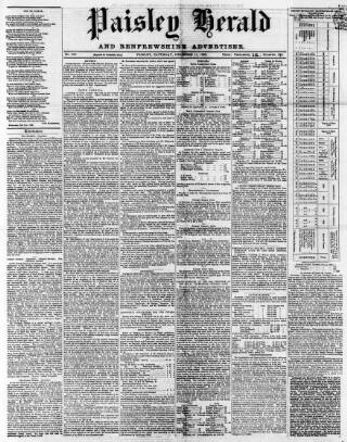 cover page of Paisley Herald and Renfrewshire Advertiser published on December 11, 1869