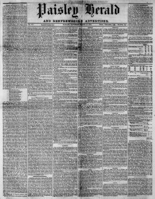 cover page of Paisley Herald and Renfrewshire Advertiser published on March 19, 1870