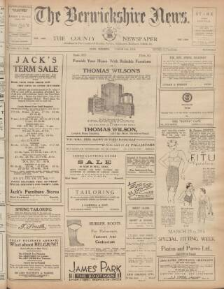 cover page of Berwickshire News and General Advertiser published on March 24, 1936