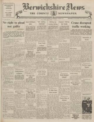 cover page of Berwickshire News and General Advertiser published on July 20, 1954