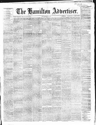 cover page of Hamilton Advertiser published on December 16, 1865
