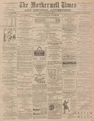 cover page of Motherwell Times published on December 10, 1897