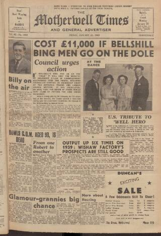 cover page of Motherwell Times published on January 28, 1949