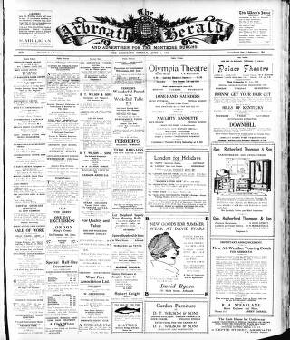cover page of Arbroath Herald and Advertiser for the Montrose Burghs published on June 1, 1928
