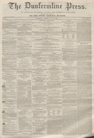 cover page of Dunfermline Press published on June 25, 1862