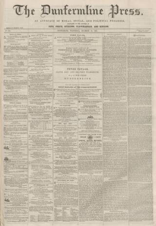 cover page of Dunfermline Press published on December 16, 1863