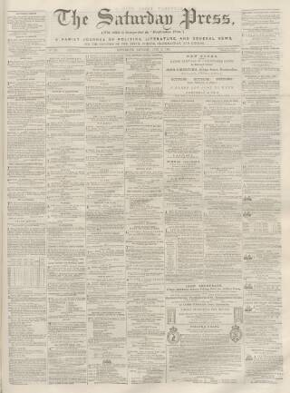 cover page of Dunfermline Saturday Press published on June 3, 1865