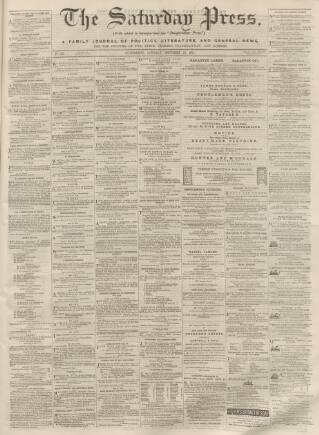 cover page of Dunfermline Saturday Press published on September 23, 1865