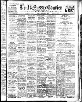 cover page of Kent & Sussex Courier published on December 15, 1933