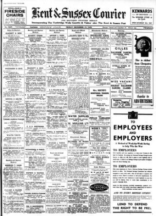 cover page of Kent & Sussex Courier published on December 15, 1939