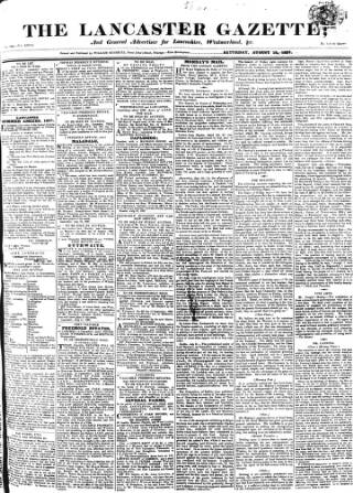 cover page of Lancaster Gazette published on August 18, 1827