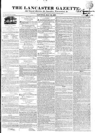 cover page of Lancaster Gazette published on May 26, 1838