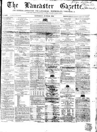 cover page of Lancaster Gazette published on June 28, 1856