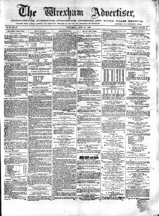 cover page of Wrexham Advertiser published on June 24, 1865