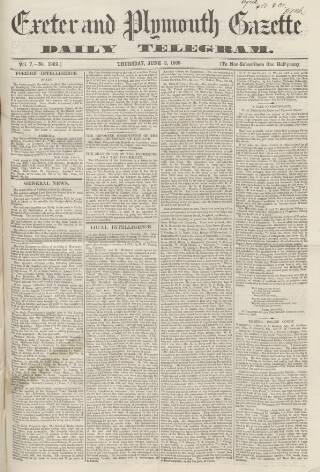 cover page of Exeter and Plymouth Gazette Daily Telegrams published on June 3, 1869