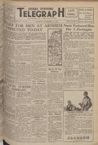 cover page of Derby Daily Telegraph published on September 25, 1944