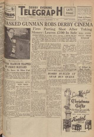 cover page of Derby Daily Telegraph published on December 13, 1947