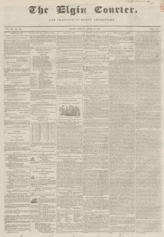 cover page of Elgin Courier published on April 23, 1847