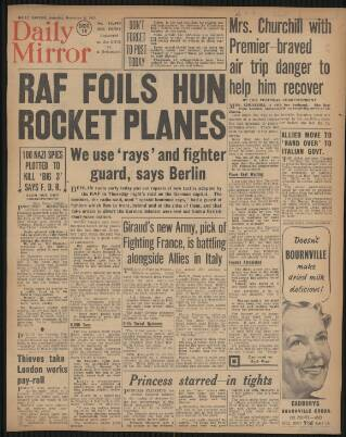 cover page of Daily Mirror published on December 18, 1943