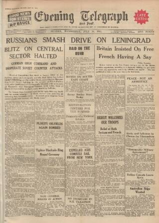 cover page of Dundee Evening Telegraph published on July 16, 1941