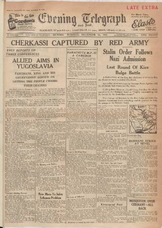 cover page of Dundee Evening Telegraph published on December 14, 1943