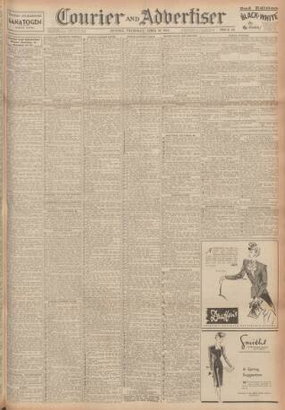 cover page of Dundee Courier published on April 19, 1945