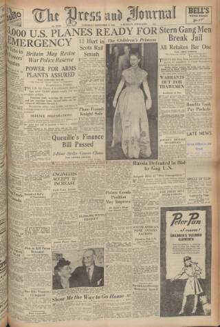 cover page of Aberdeen Press and Journal published on September 25, 1948