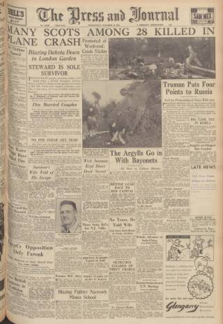 cover page of Aberdeen Press and Journal published on October 18, 1950