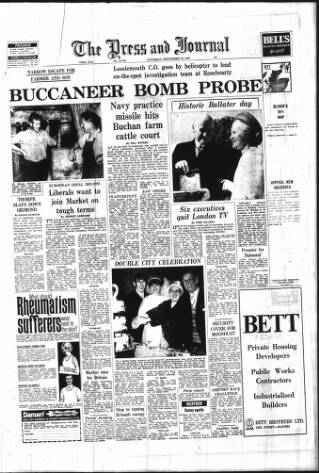 cover page of Aberdeen Press and Journal published on September 20, 1969