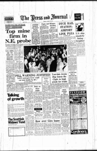 cover page of Aberdeen Press and Journal published on April 24, 1970