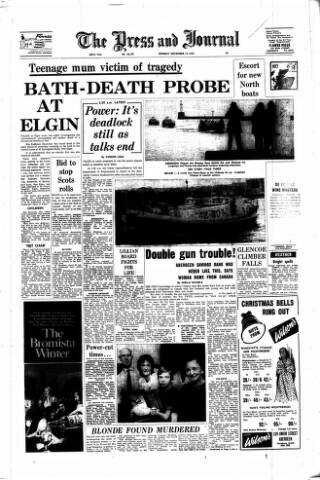 cover page of Aberdeen Press and Journal published on December 14, 1970