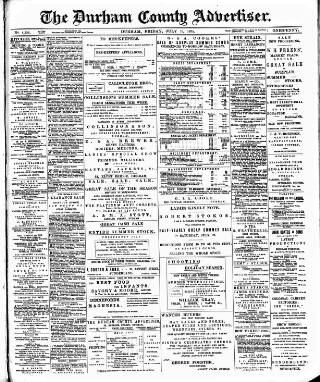 cover page of Durham County Advertiser published on July 19, 1895
