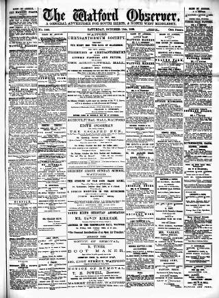 cover page of Watford Observer published on October 18, 1890
