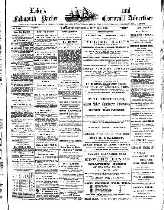 cover page of Lake's Falmouth Packet and Cornwall Advertiser published on July 22, 1893