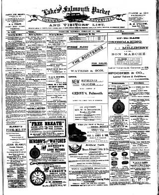 cover page of Lake's Falmouth Packet and Cornwall Advertiser published on February 21, 1903