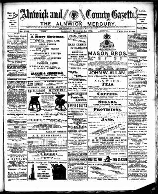 cover page of Alnwick Mercury published on December 14, 1889