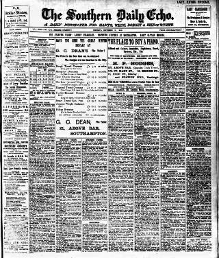 cover page of Southern Echo published on October 17, 1910
