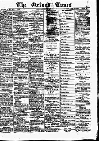 cover page of Oxford Times published on July 17, 1875