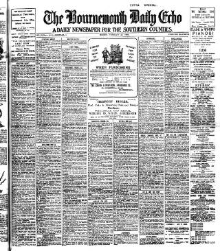 cover page of Bournemouth Daily Echo published on February 20, 1905