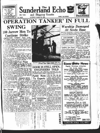 cover page of Sunderland Daily Echo and Shipping Gazette published on October 24, 1953