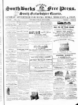 cover page of South Bucks Free Press, Wycombe and Maidenhead Journal published on July 18, 1862