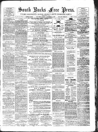 cover page of South Bucks Free Press, Wycombe and Maidenhead Journal published on September 1, 1882