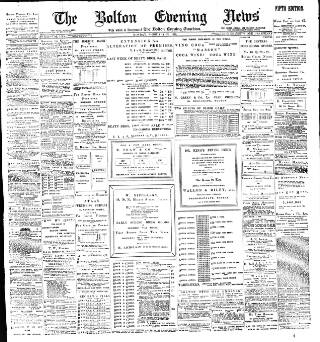 cover page of Bolton Evening News published on February 21, 1898