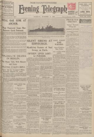 cover page of Northants Evening Telegraph published on October 17, 1939