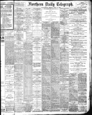 cover page of Northern Daily Telegraph published on July 15, 1898