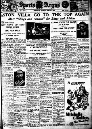 cover page of Sports Argus published on March 19, 1938