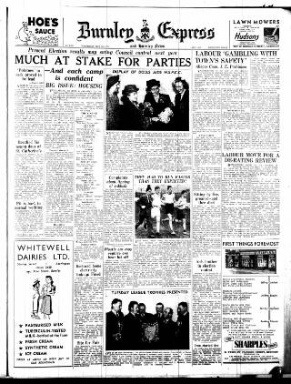 cover page of Burnley Express published on May 9, 1951