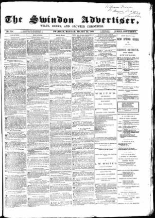 cover page of Swindon Advertiser and North Wilts Chronicle published on March 22, 1869